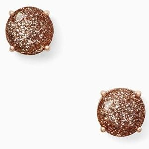Kate Spade Rose Gold Glitter Gumdrop Stud Earrings